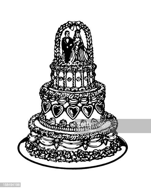 tiered wedding cake - dessert topping stock illustrations, clip art, cartoons, & icons