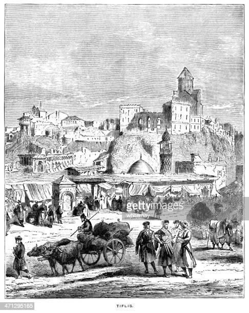Tiflis - now Tbilisi, capital of Georgia (1882 engraving)