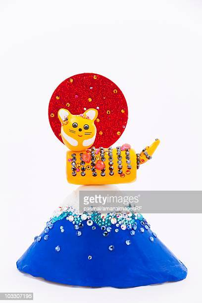 tiger figurine on top of a plasticine mt. fuji - mt. fuji stock illustrations, clip art, cartoons, & icons