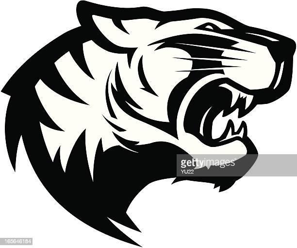 Tiger head mascot 2 B&W