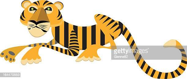 タイガー横たわる - named animal点のイラスト素材/クリップアート素材/マンガ素材/アイコン素材