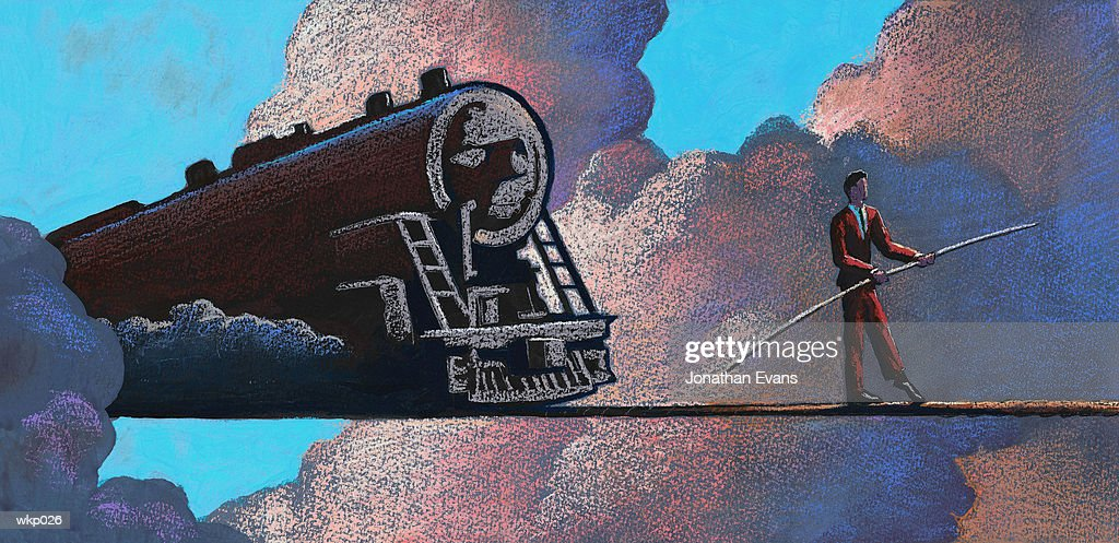 Tightrope & Train : Stock Illustration