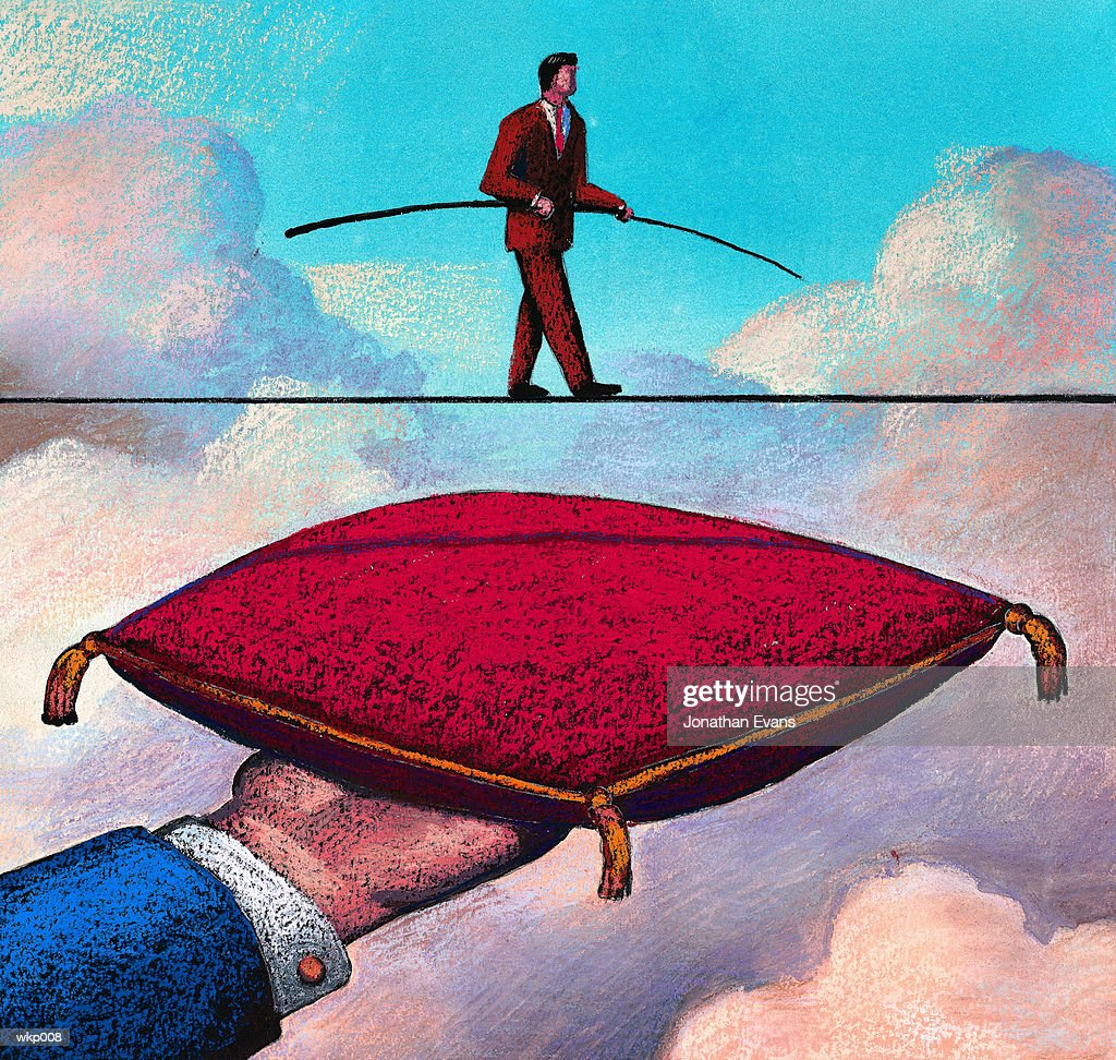 Tightrope with Pillow Below : Illustration