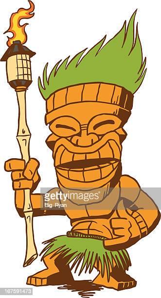 tiki dude - hawaiian ethnicity stock illustrations, clip art, cartoons, & icons
