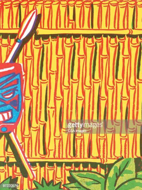 tiki fence - pacific islands stock illustrations