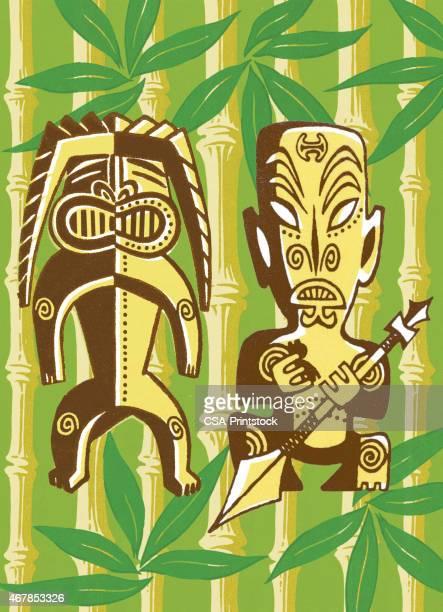 Tiki Figures in Foilage