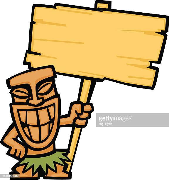 tiki god holding sign - hawaiian ethnicity stock illustrations, clip art, cartoons, & icons