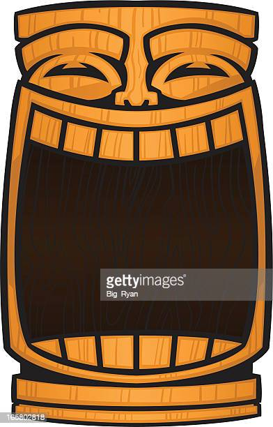 tiki god mask - hawaiian ethnicity stock illustrations, clip art, cartoons, & icons