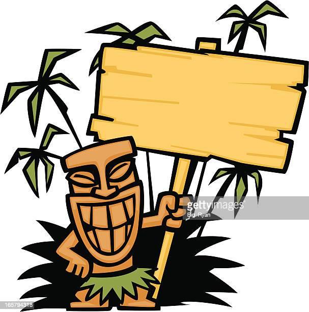 tiki god sign - hawaiian ethnicity stock illustrations, clip art, cartoons, & icons