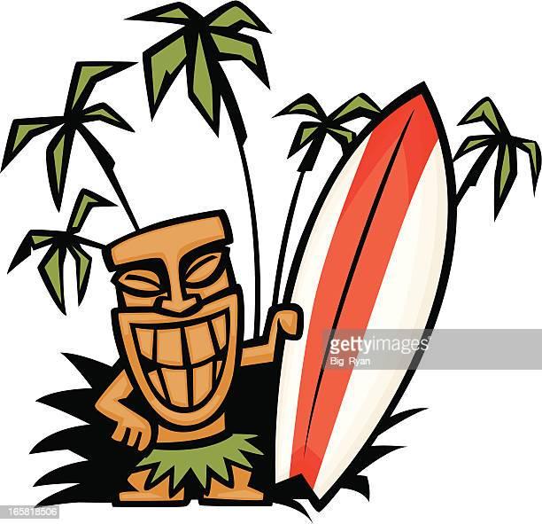 tiki god surfboard - hawaiian ethnicity stock illustrations, clip art, cartoons, & icons