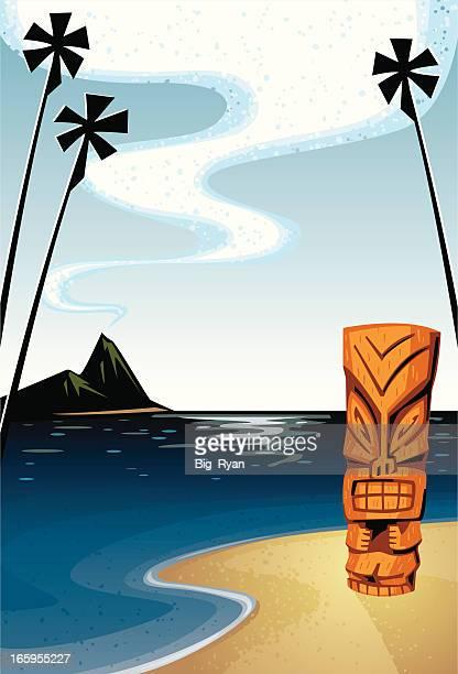tiki hawaiian background - hawaiian ethnicity stock illustrations, clip art, cartoons, & icons