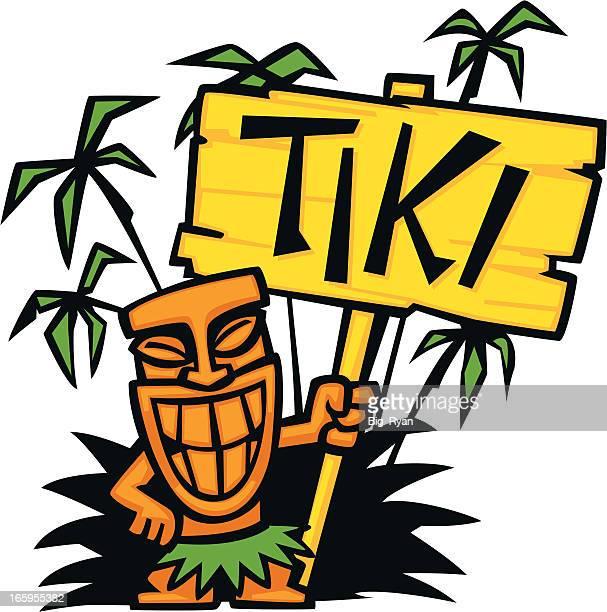 tiki party sign - hawaiian ethnicity stock illustrations, clip art, cartoons, & icons