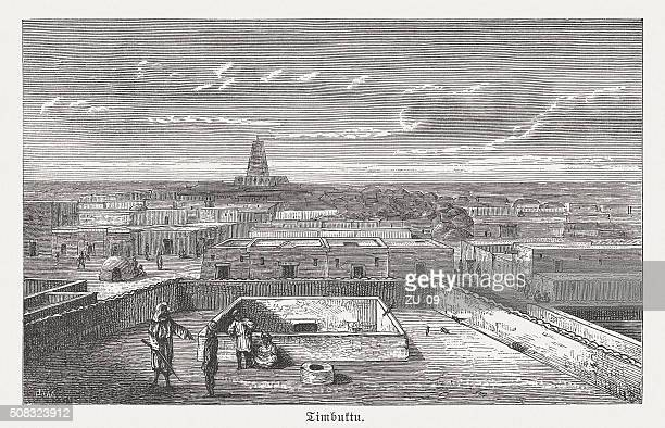 timbuktu - world capital of islamic culture, published in 1882 - mali stock illustrations, clip art, cartoons, & icons