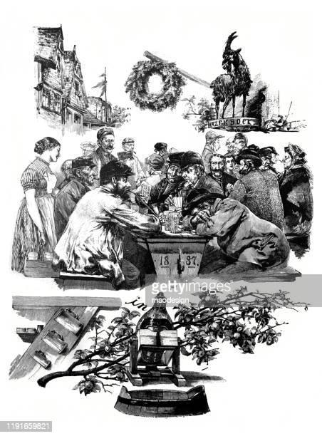 ilustrações, clipart, desenhos animados e ícones de hora para um jardim da cerveja - 1887