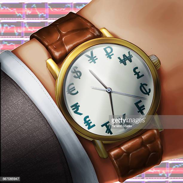 time is money watch concept of international currency symbol - franc sign stock illustrations, clip art, cartoons, & icons