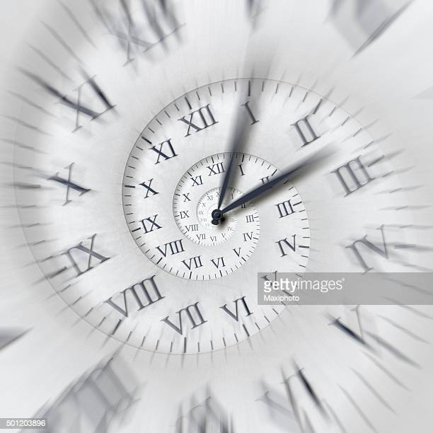 Time runs: clock hands spinning fast on time spiral
