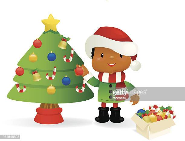 60 Top Decorating The Christmas Tree Stock Illustrations Clip Art