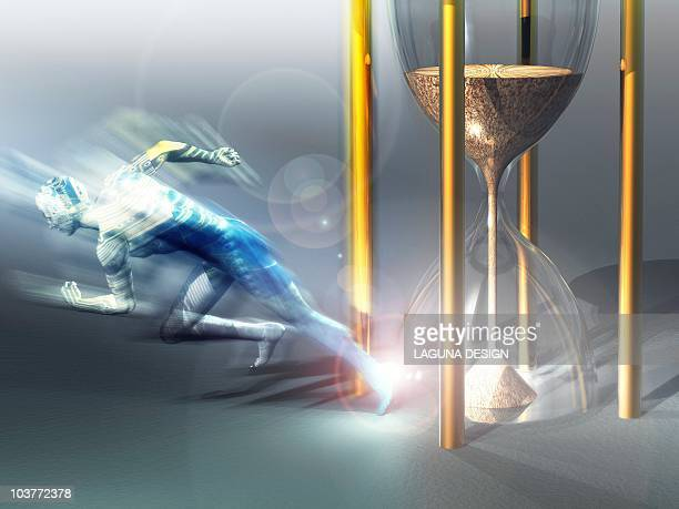time travel, conceptual artwork - hourglass stock illustrations