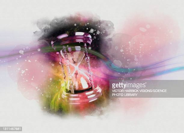 time travel, conceptual illustration - hourglass stock illustrations