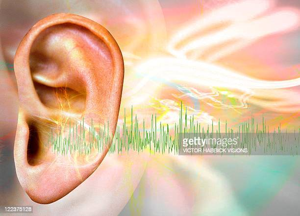 tinnitus, conceptual artwork - ear stock illustrations