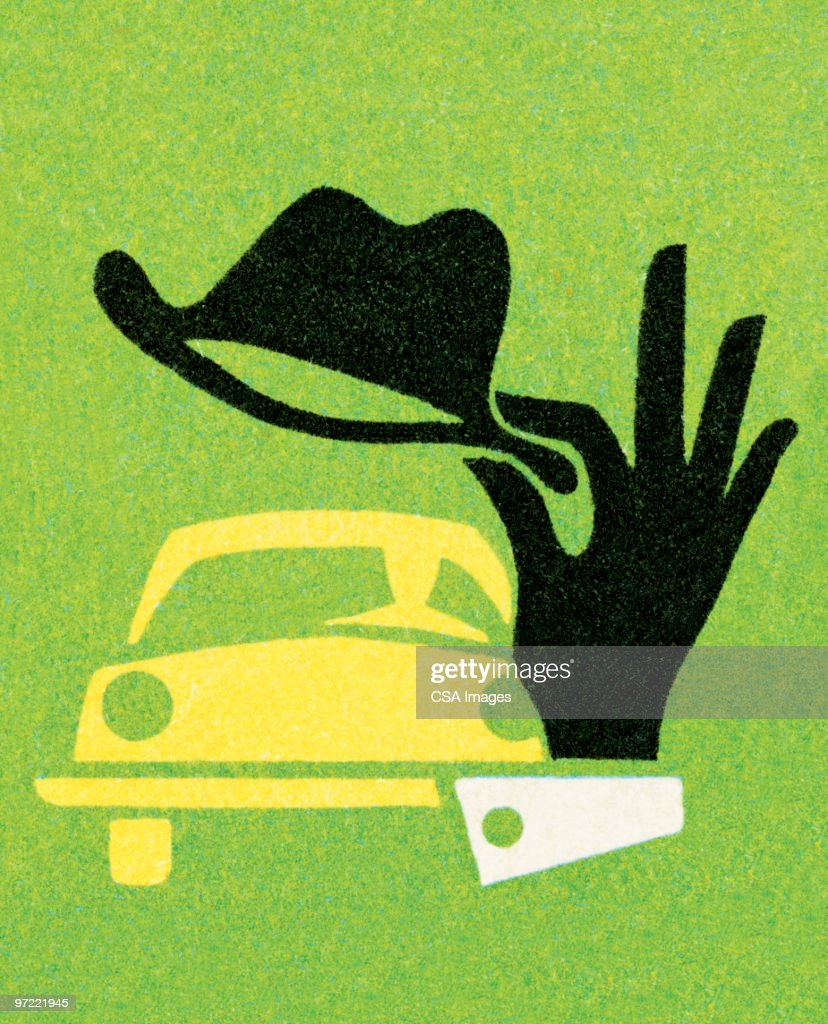 Tipped hat to car : stock illustration