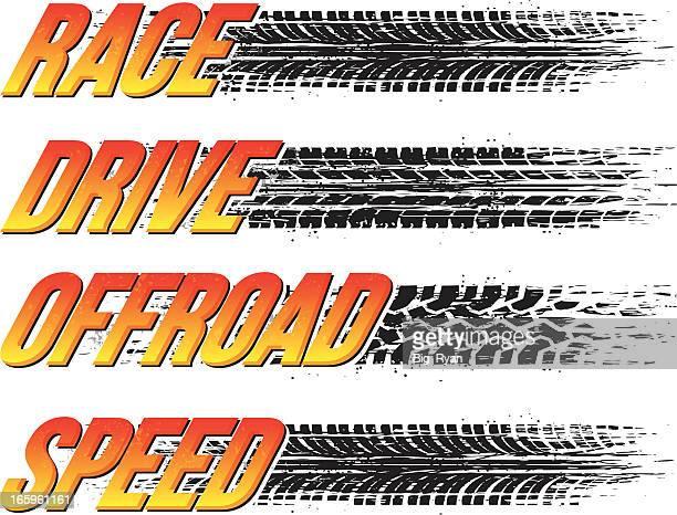 tire tread text - skidding stock illustrations, clip art, cartoons, & icons