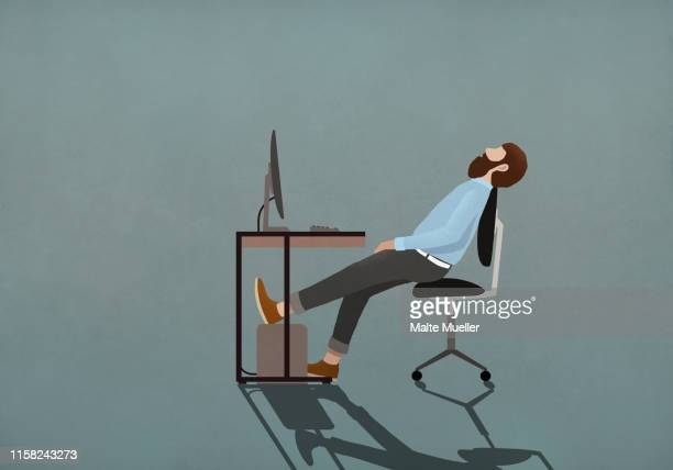 illustrations, cliparts, dessins animés et icônes de tired businessman sleeping at desk - stress