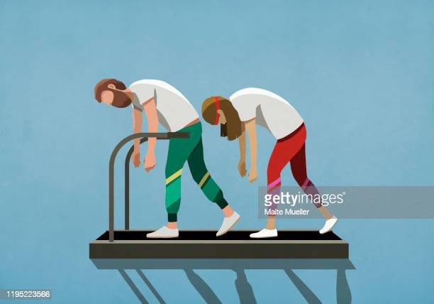 stockillustraties, clipart, cartoons en iconen met tired couple walking on treadmill - overwerkt