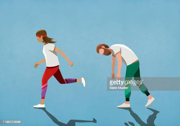 illustrations, cliparts, dessins animés et icônes de tired husband following running wife - courir