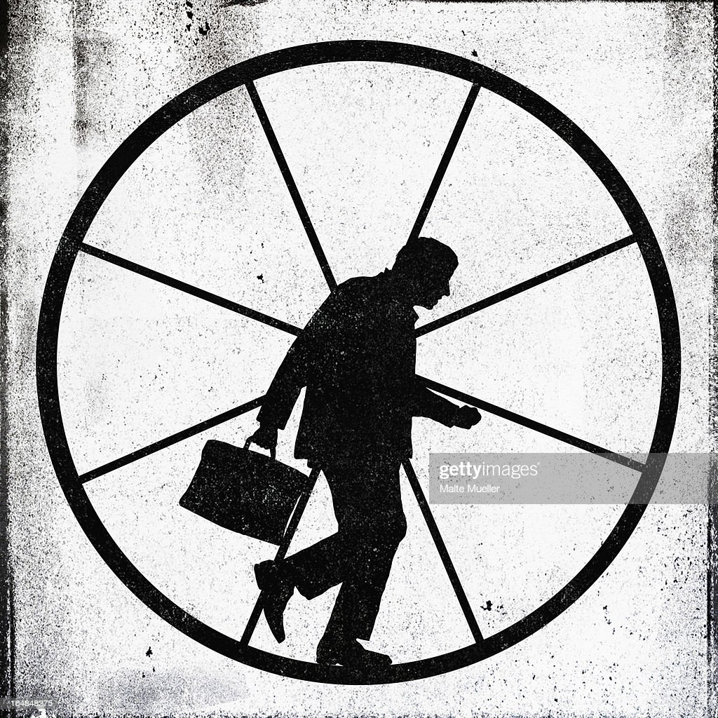 A tired looking businessman jogging on an exercise wheel : stock illustration