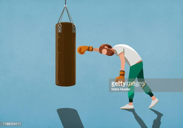 tired man boxing at punching bag - men stock illustrations