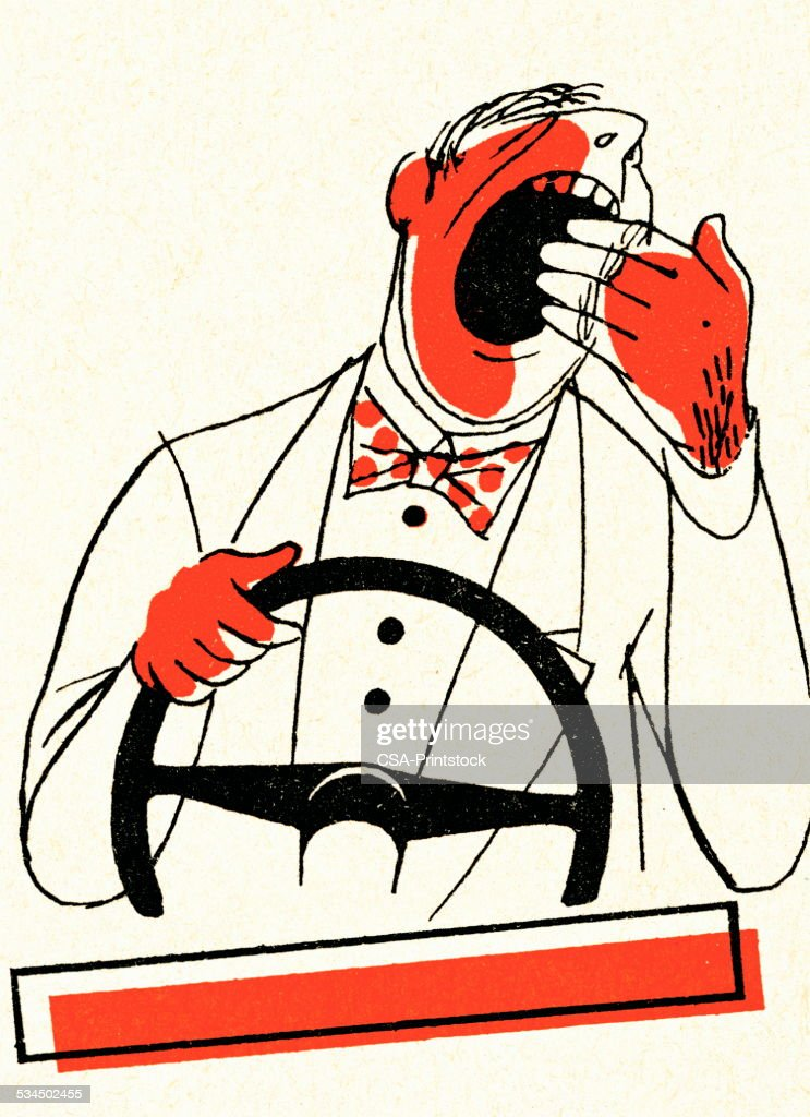 Tired man driving : stock illustration