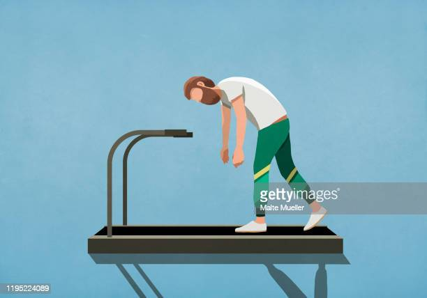 tired man tired man walking on treadmill - image technique stock illustrations