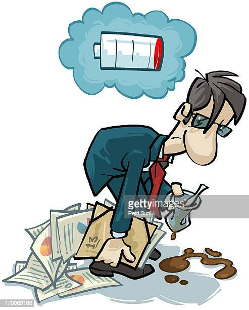 a tired office worker with an empty battery sign above his head - bad posture stock illustrations, clip art, cartoons, & icons