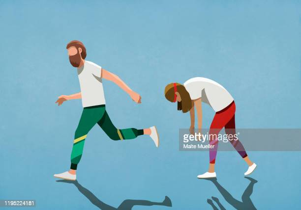 tired wife running behind husband - image technique stock illustrations