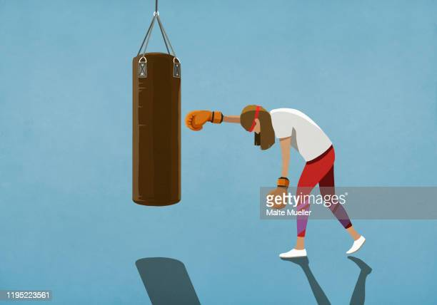 tired woman boxing at punching bag - coloured background stock illustrations
