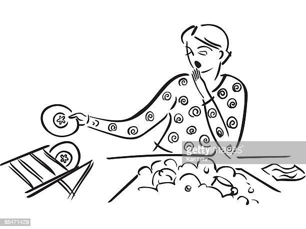 a tired woman doing the dishes - washing dishes stock illustrations, clip art, cartoons, & icons
