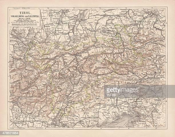 tirol, veröffentlichte 1878 zogen - bodensee karte stock-grafiken, -clipart, -cartoons und -symbole