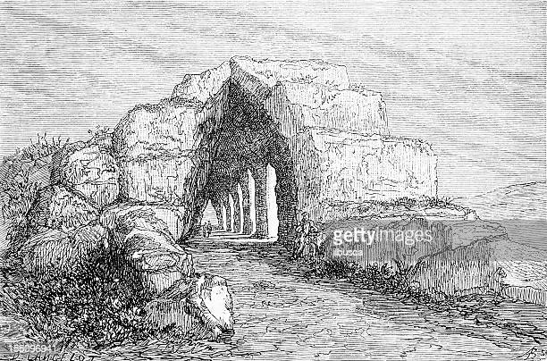 tiryns' tunnel - etruscan stock illustrations