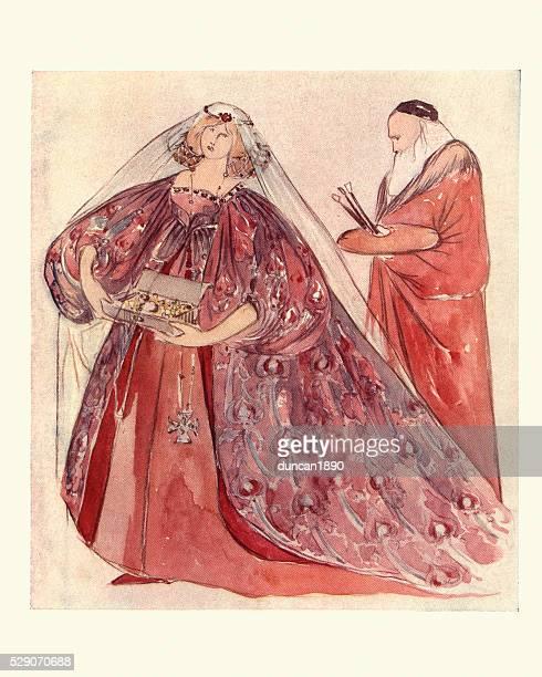 titian attendant on venice - tiziano vecellio stock illustrations, clip art, cartoons, & icons
