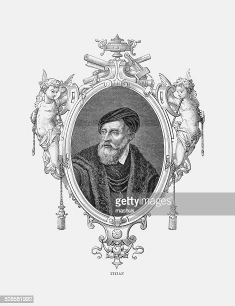 titian, famous italian renaissance painter - tiziano vecellio stock illustrations, clip art, cartoons, & icons
