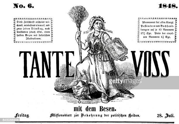 title of the german satiric magazine tante voss, 1848 - women's issues stock illustrations, clip art, cartoons, & icons