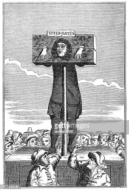 titus oates in the pillory - pillory stock illustrations
