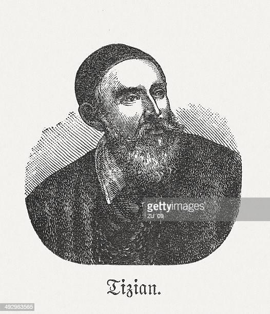 tizian (c.1477/1490-1576), italian painter, wood engraving, published in 1881 - tiziano vecellio stock illustrations, clip art, cartoons, & icons