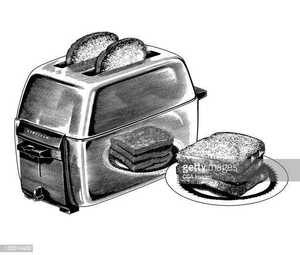 toast and toaster - toaster appliance stock illustrations, clip art, cartoons, & icons
