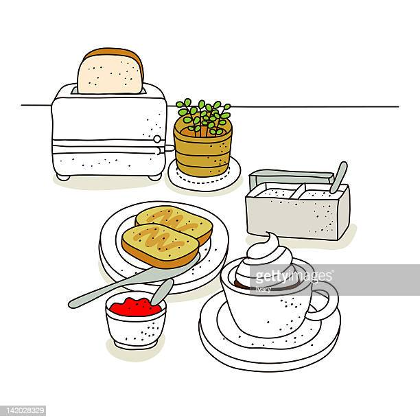 Toast bread with toaster in the background
