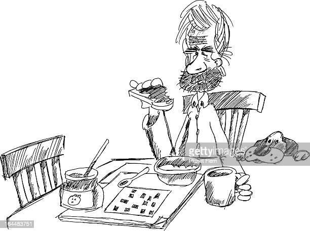toast, coffee and crosswords - breakfast cartoon stock illustrations