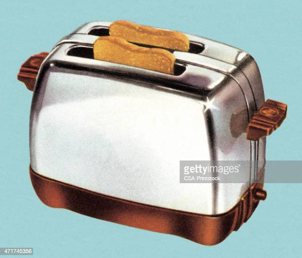 toast in toaster - toaster appliance stock illustrations, clip art, cartoons, & icons