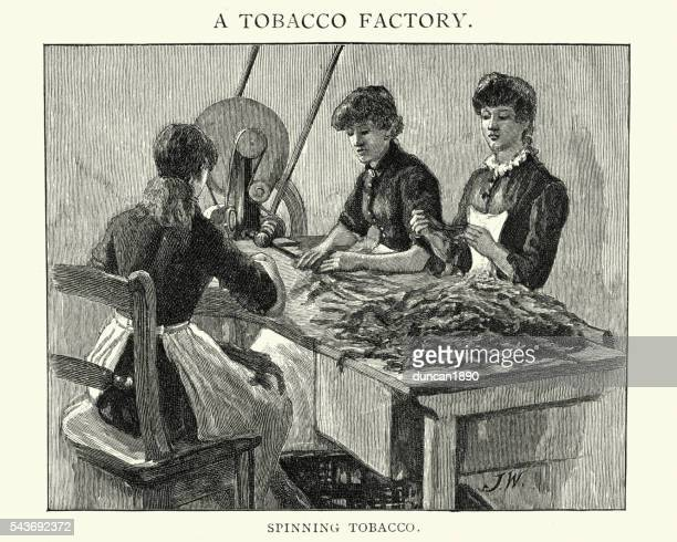 tobacco factory - women spinning tobacco - tobacco crop stock illustrations, clip art, cartoons, & icons