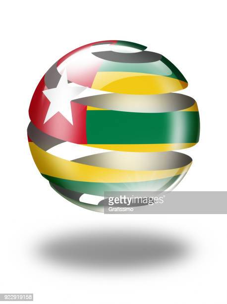 togo button sphere with togolese flag isolated on white - togo stock illustrations, clip art, cartoons, & icons